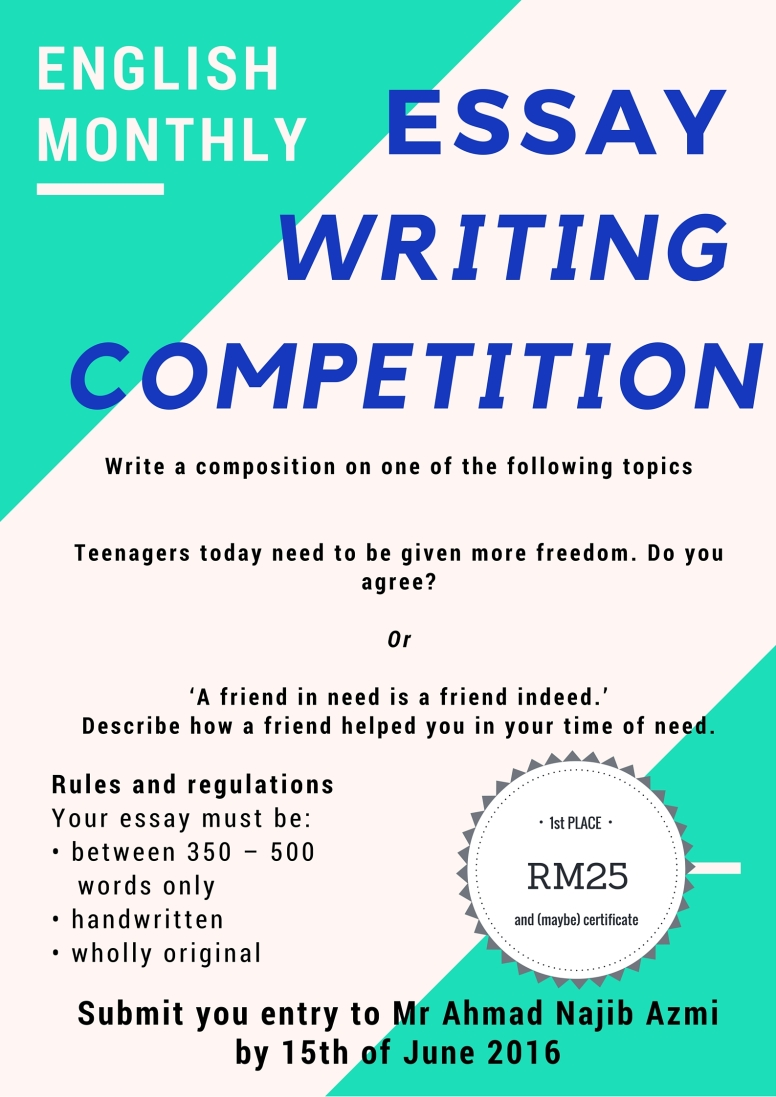 Essay Writing Competition June   English  Smka Pahang English  Smka Pahang